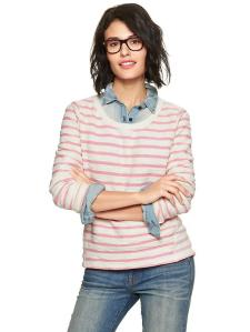 Stripe Reverse Terry Pullover @ Gap